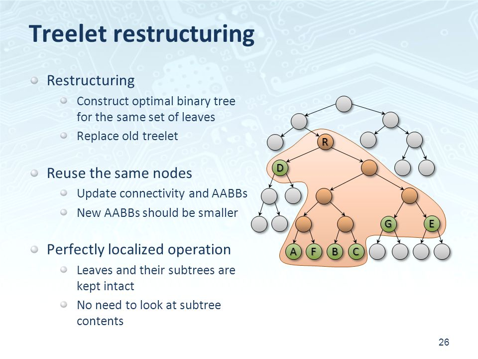 Treelet restructuring 26 RR CCAABBFF DD GG EE Restructuring Construct optimal binary tree for the same set of leaves Replace old treelet Reuse the sam
