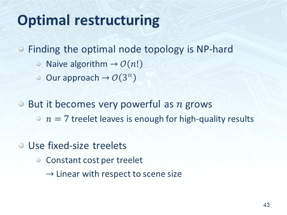 Optimal restructuring 43