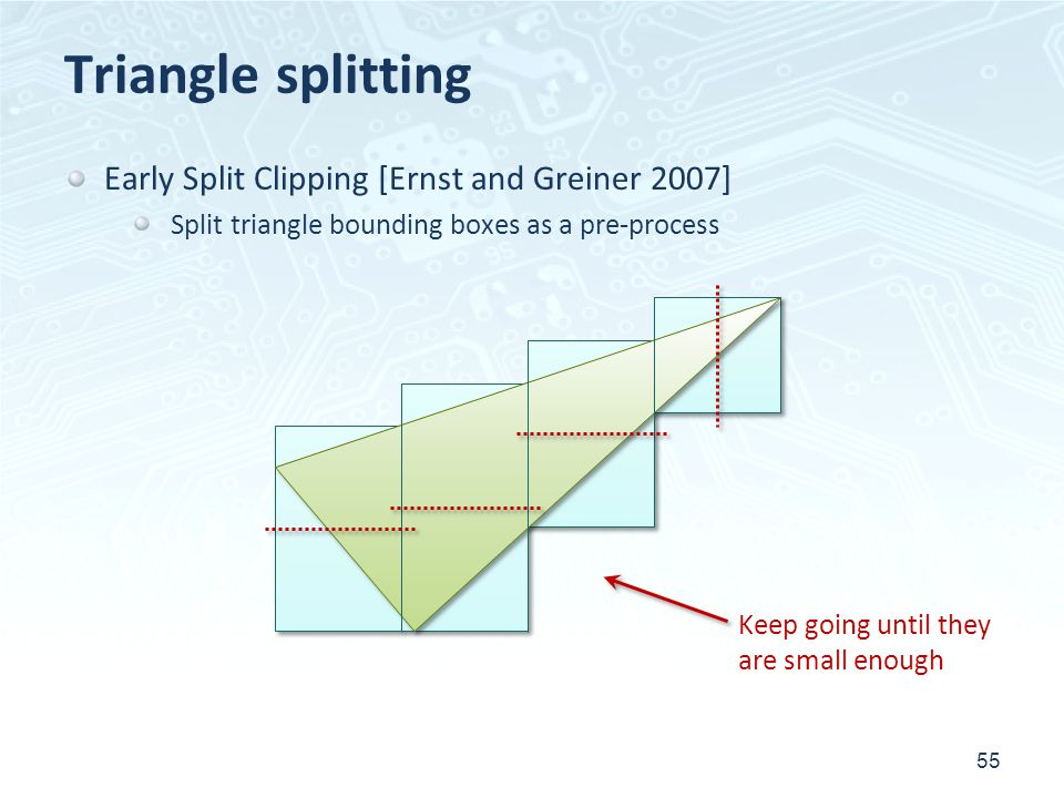 Triangle splitting 55 Early Split Clipping [Ernst and Greiner 2007] Split triangle bounding boxes as a pre-process Keep going until they are small eno
