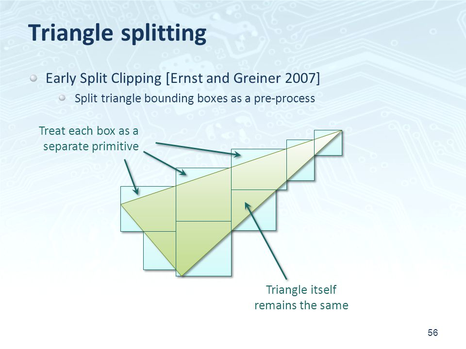 Triangle splitting 56 Early Split Clipping [Ernst and Greiner 2007] Split triangle bounding boxes as a pre-process Treat each box as a separate primit