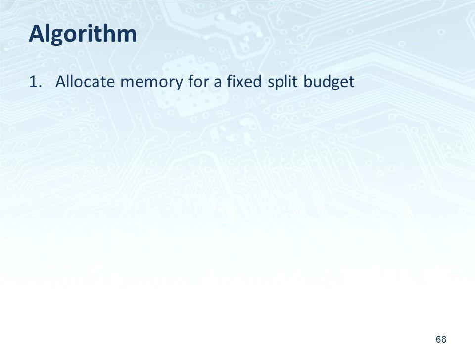 Algorithm 1.Allocate memory for a fixed split budget 66