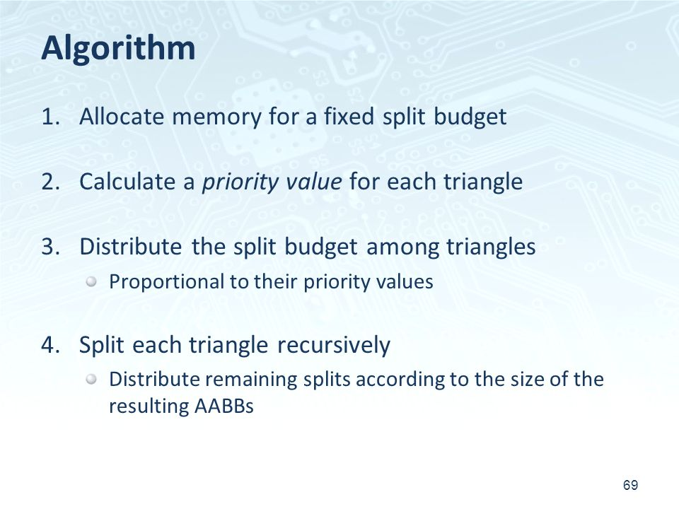 Algorithm 1.Allocate memory for a fixed split budget 2.Calculate a priority value for each triangle 3.Distribute the split budget among triangles Prop
