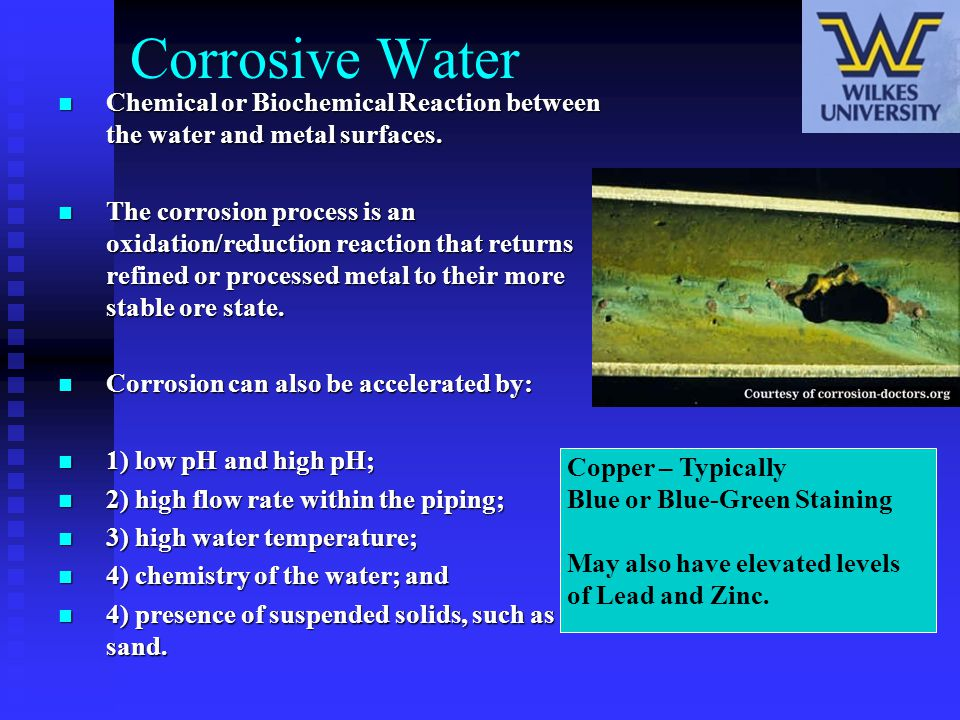 Corrosive Water Chemical or Biochemical Reaction between the water and metal surfaces. Chemical or Biochemical Reaction between the water and metal su