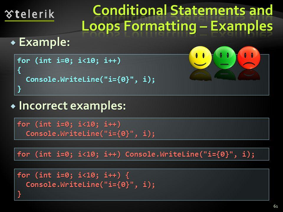 Example: Example: Incorrect examples: Incorrect examples: 61 for (int i=0; i<10; i++) { Console.WriteLine( i={0} , i); Console.WriteLine( i={0} , i);} for (int i=0; i<10; i++) Console.WriteLine( i={0} , i); Console.WriteLine( i={0} , i); for (int i=0; i<10; i++) Console.WriteLine( i={0} , i); for (int i=0; i<10; i++) { Console.WriteLine( i={0} , i); Console.WriteLine( i={0} , i);}