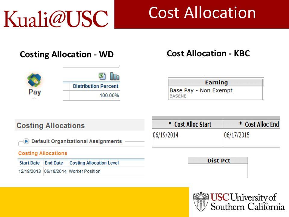 Cost Allocation Cost Allocation - KBC Costing Allocation - WD