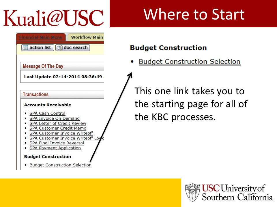 Where to Start This one link takes you to the starting page for all of the KBC processes.