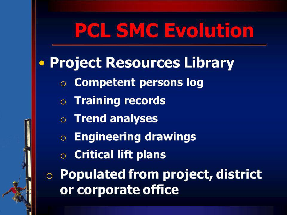 PCL SMC Evolution Project Resources Library o Competent persons log o Training records o Trend analyses o Engineering drawings o Critical lift plans o