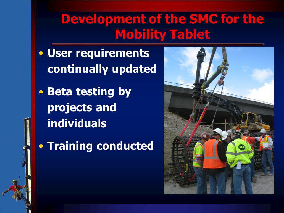 Development of the SMC for the Mobility Tablet User requirements continually updated Beta testing by projects and individuals Training conducted