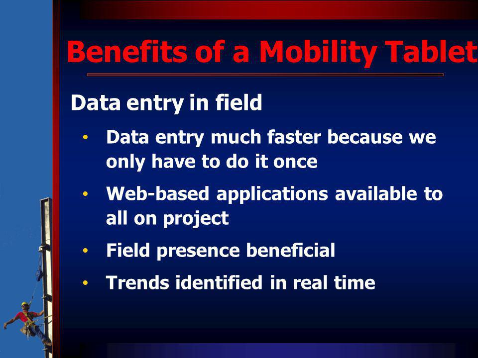 Data entry in field Data entry much faster because we only have to do it once Web-based applications available to all on project Field presence benefi