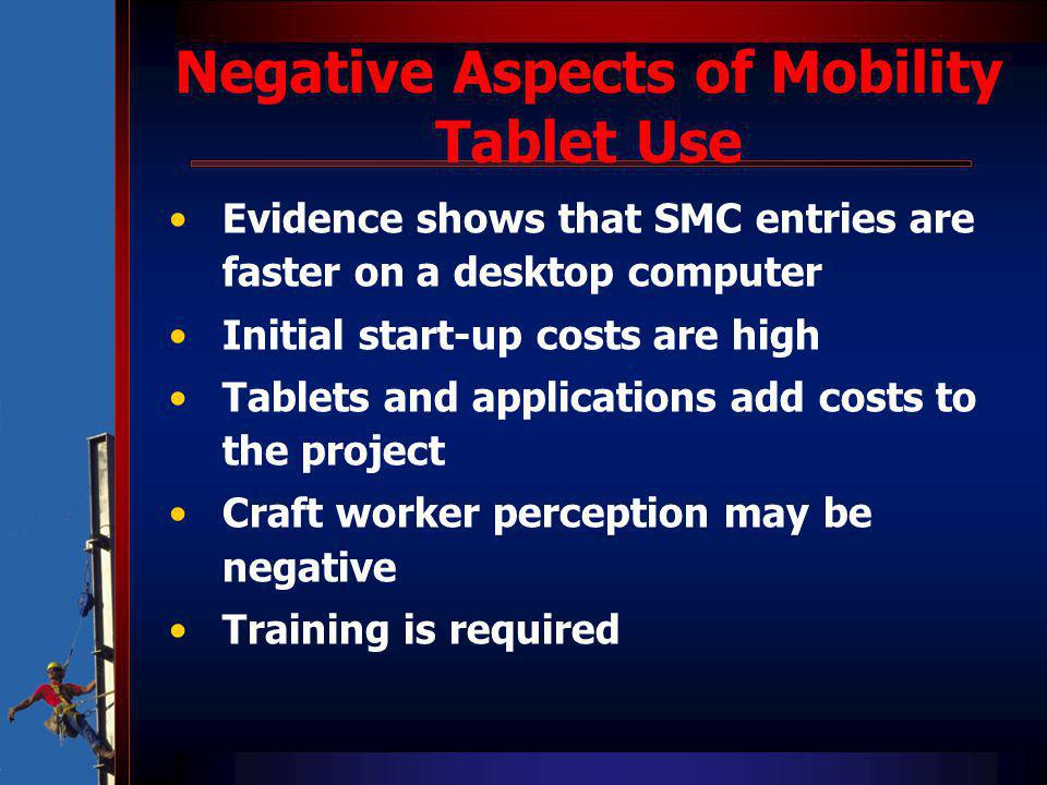 Negative Aspects of Mobility Tablet Use Evidence shows that SMC entries are faster on a desktop computer Initial start-up costs are high Tablets and applications add costs to the project Craft worker perception may be negative Training is required