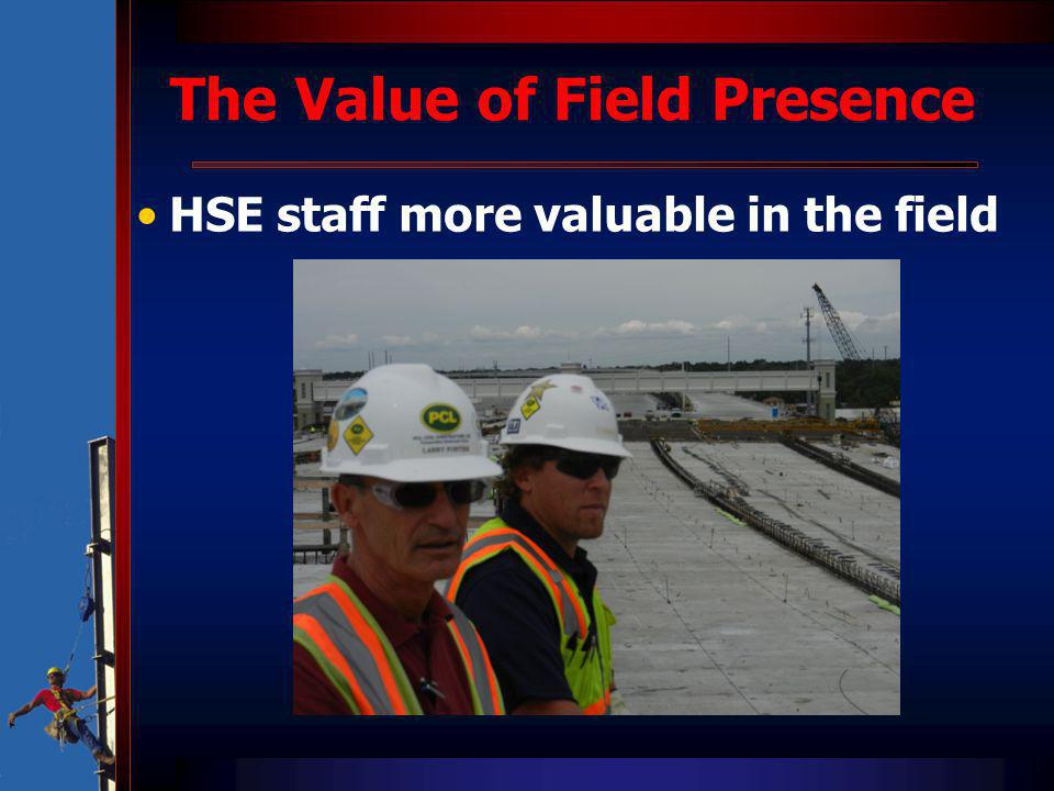 The Value of Field Presence HSE staff more valuable in the field