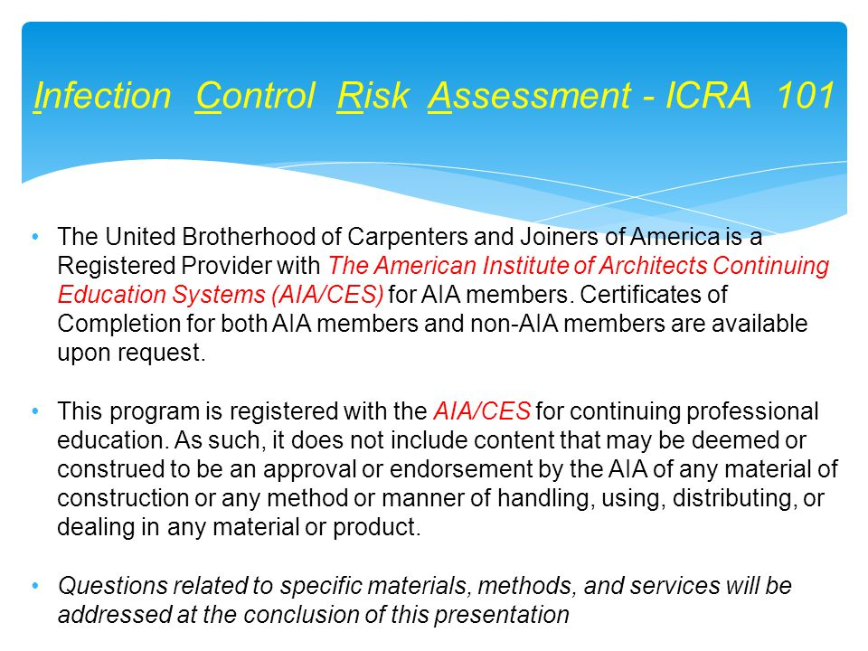 The United Brotherhood of Carpenters and Joiners of America is a Registered Provider with The American Institute of Architects Continuing Education Sy