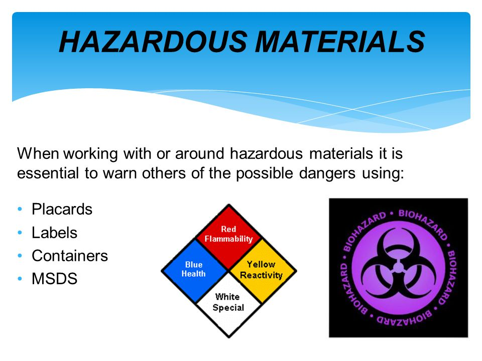 Materials that pose risk to: health, safety, and the environment Present at jobsites within health care facilities in many different forms Acute and chronic health effects can result from exposures over OSHAs PEL HAZARDOUS MATERIALS