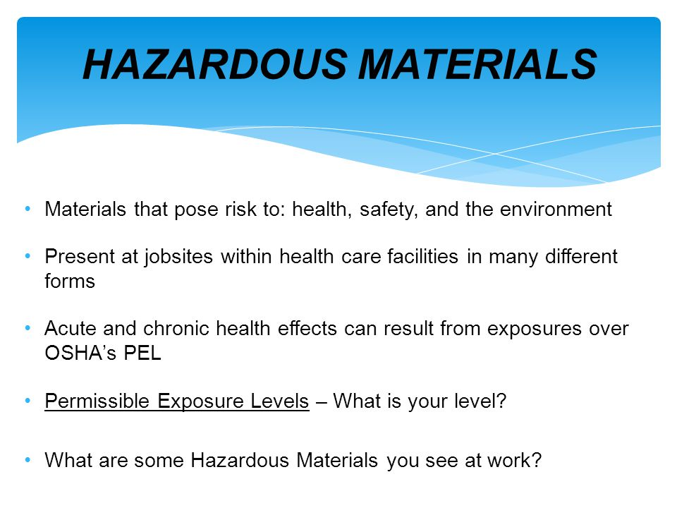 Hazards found in occupied building: Asbestos Lead Fungi Silica Chemicals HAZARDOUS SUBSTANCES