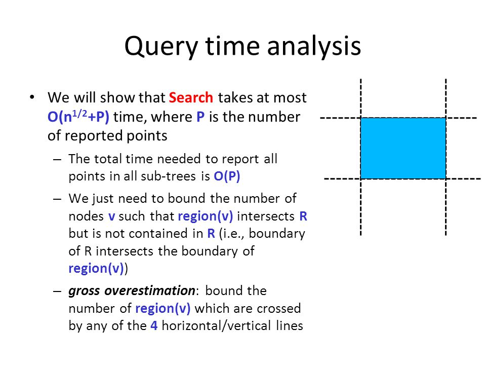 Query time analysis We will show that Search takes at most O(n 1/2 +P) time, where P is the number of reported points – The total time needed to repor