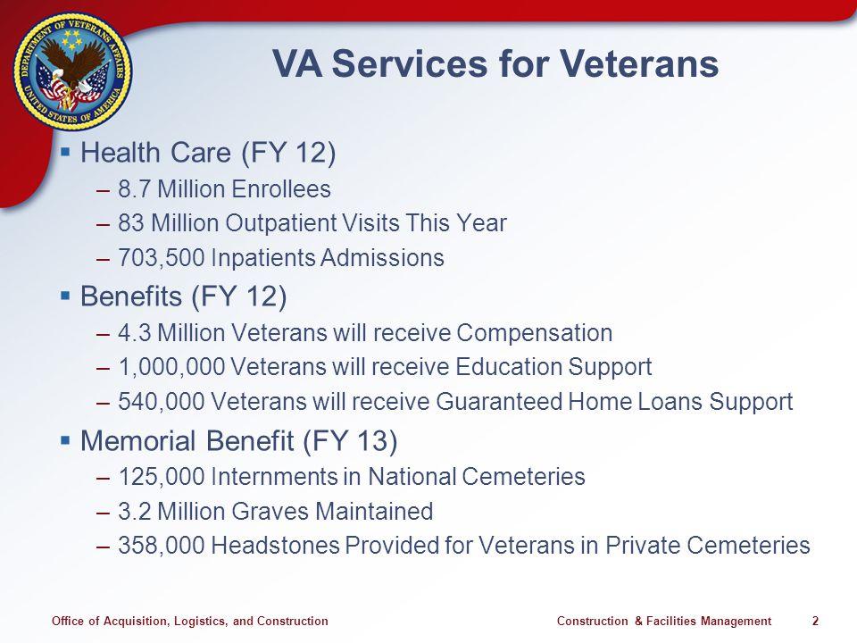 Office of Acquisition, Logistics, and Construction Construction & Facilities Management 2 VA Services for Veterans Health Care (FY 12) –8.7 Million En