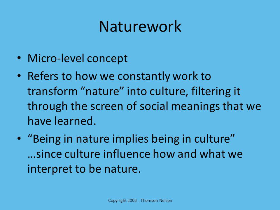 Naturework Micro-level concept Refers to how we constantly work to transform nature into culture, filtering it through the screen of social meanings that we have learned.