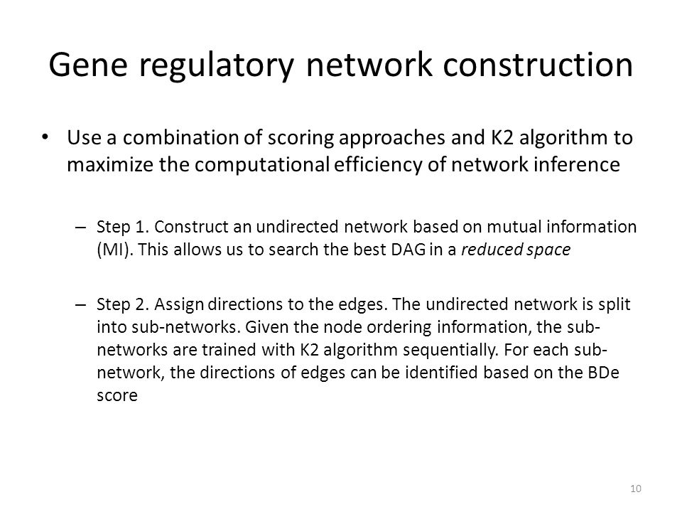 Gene regulatory network construction Use a combination of scoring approaches and K2 algorithm to maximize the computational efficiency of network infe