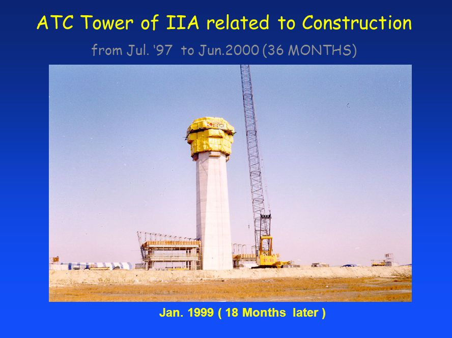 ATC Tower of IIA related to Construction from Jul. 97 to Jun.2000 (36 MONTHS) Jan. 1999 ( 18 Months later )
