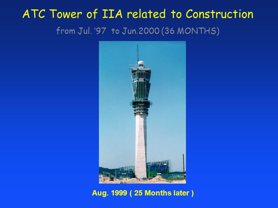 ATC Tower of IIA related to Construction from Jul. 97 to Jun.2000 (36 MONTHS) Aug. 1999 ( 25 Months later )