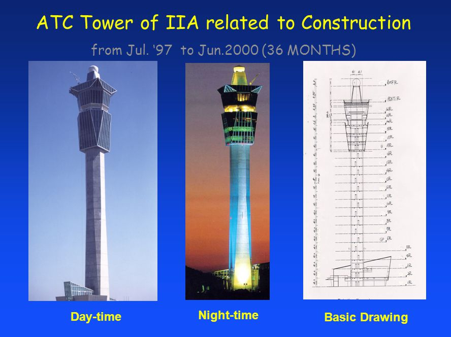 ATC Tower of IIA related to Construction from Jul. 97 to Jun.2000 (36 MONTHS) Basic Drawing Day-time Night-time