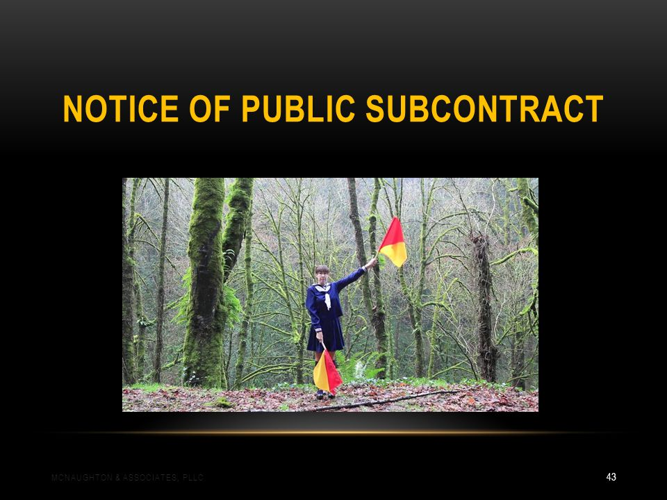 NOTICE OF PUBLIC SUBCONTRACT MCNAUGHTON & ASSOCIATES, PLLC 43