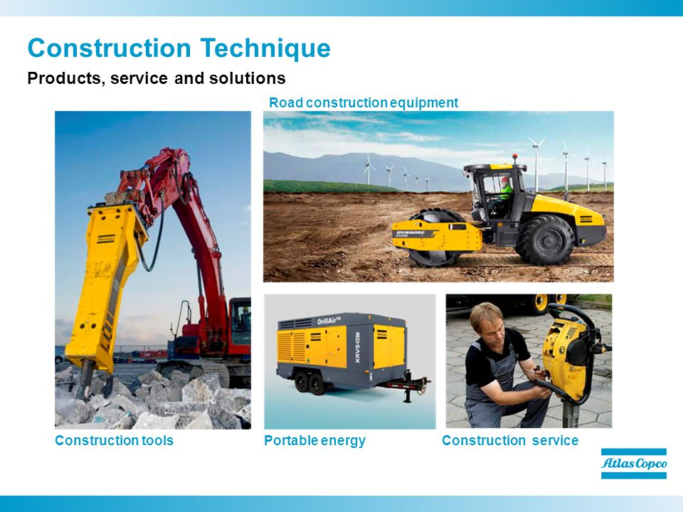 Construction Technique Products, service and solutions Construction tools Road construction equipment Portable energyConstruction service