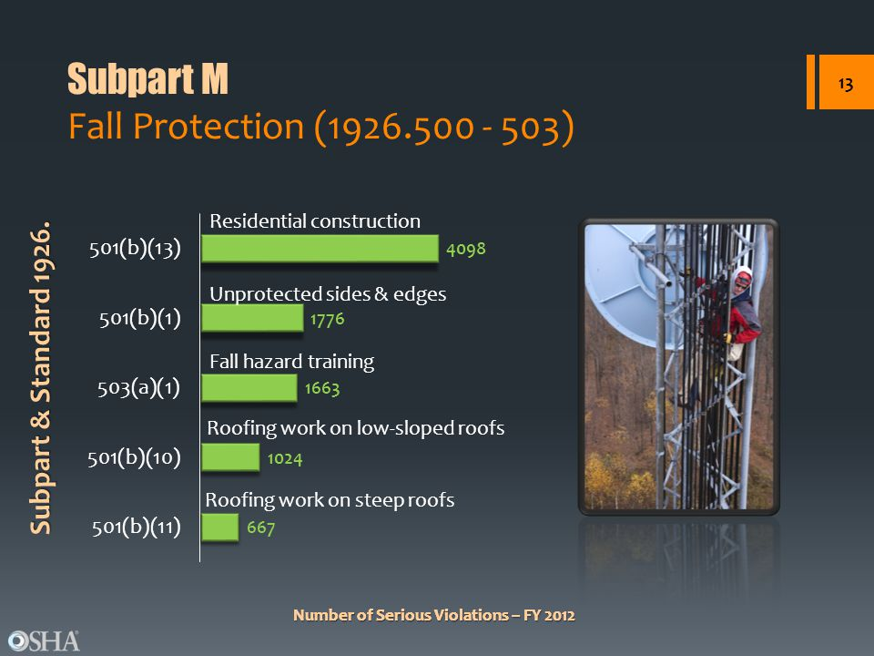 Number of Serious Violations – FY 2012 Subpart & Standard 1926. Number of Serious Violations – FY 2012 Subpart M Fall Protection (1926.500 - 503) 13 R