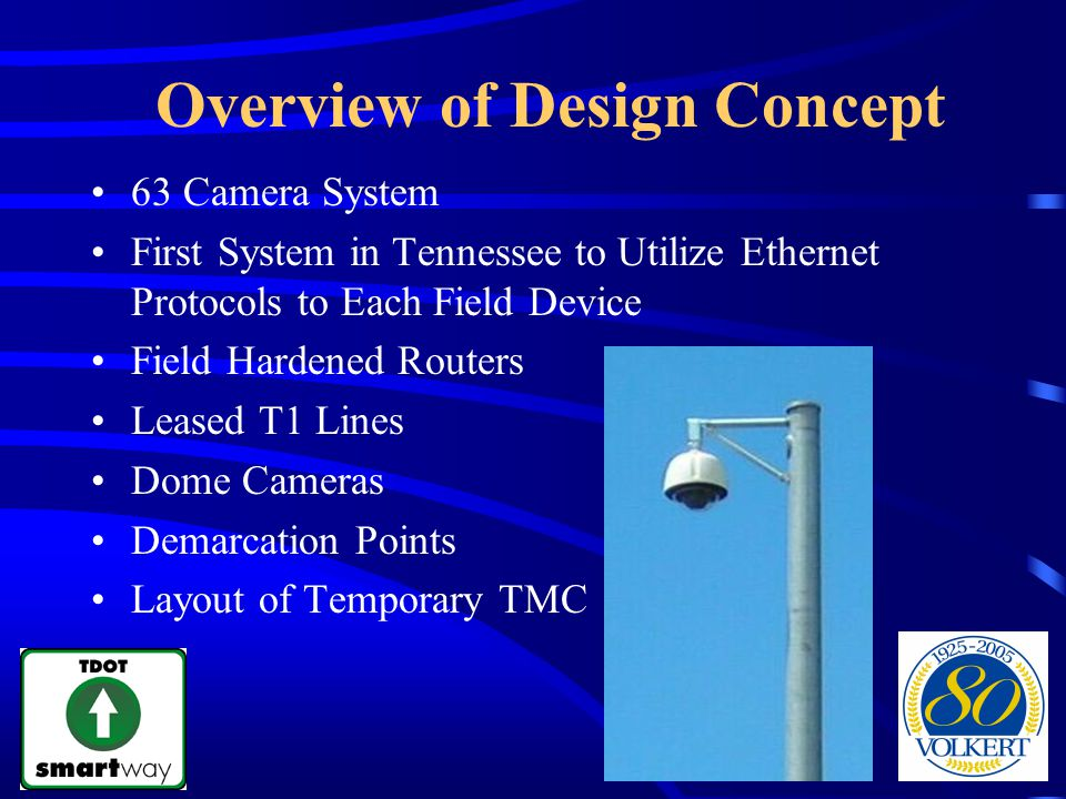 Overview of Design Concept 63 Camera System First System in Tennessee to Utilize Ethernet Protocols to Each Field Device Field Hardened Routers Leased