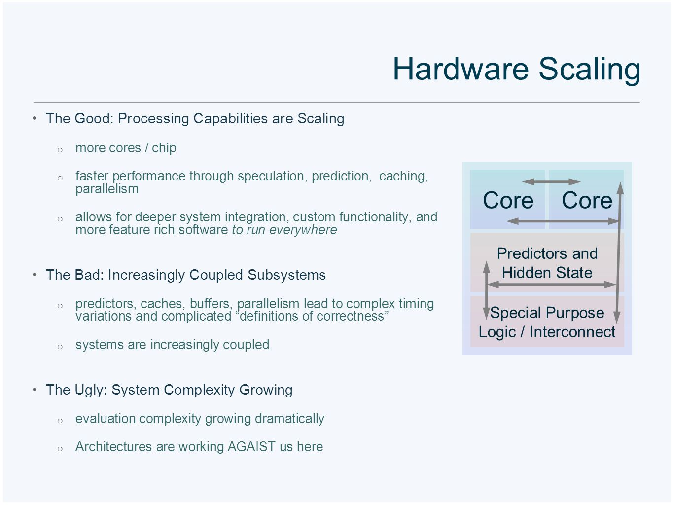 Hardware Scaling The Good: Processing Capabilities are Scaling o more cores / chip o faster performance through speculation, prediction, caching, para