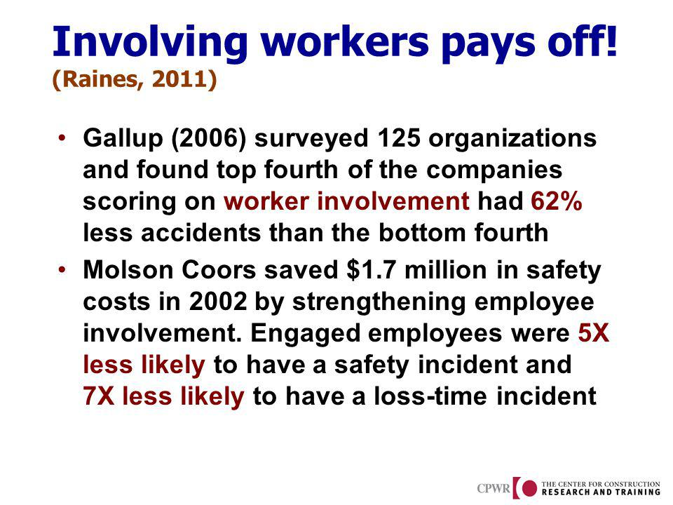 Involving workers pays off! (Raines, 2011) Gallup (2006) surveyed 125 organizations and found top fourth of the companies scoring on worker involvemen