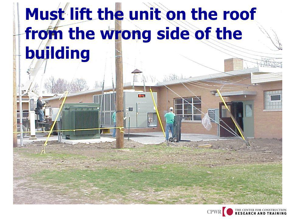 Must lift the unit on the roof from the wrong side of the building