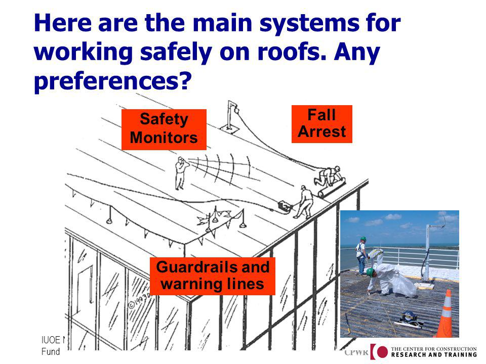IUOE National Training Fund Here are the main systems for working safely on roofs. Any preferences? Safety Monitors Guardrails and warning lines Fall