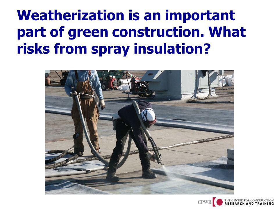 Weatherization is an important part of green construction. What risks from spray insulation?