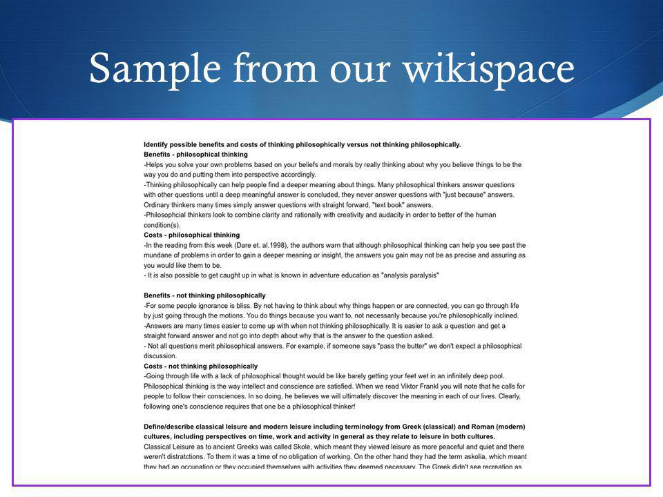 Sample from our wikispace
