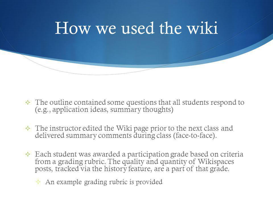 How we used the wiki The outline contained some questions that all students respond to (e.g., application ideas, summary thoughts) The instructor edited the Wiki page prior to the next class and delivered summary comments during class (face-to-face).