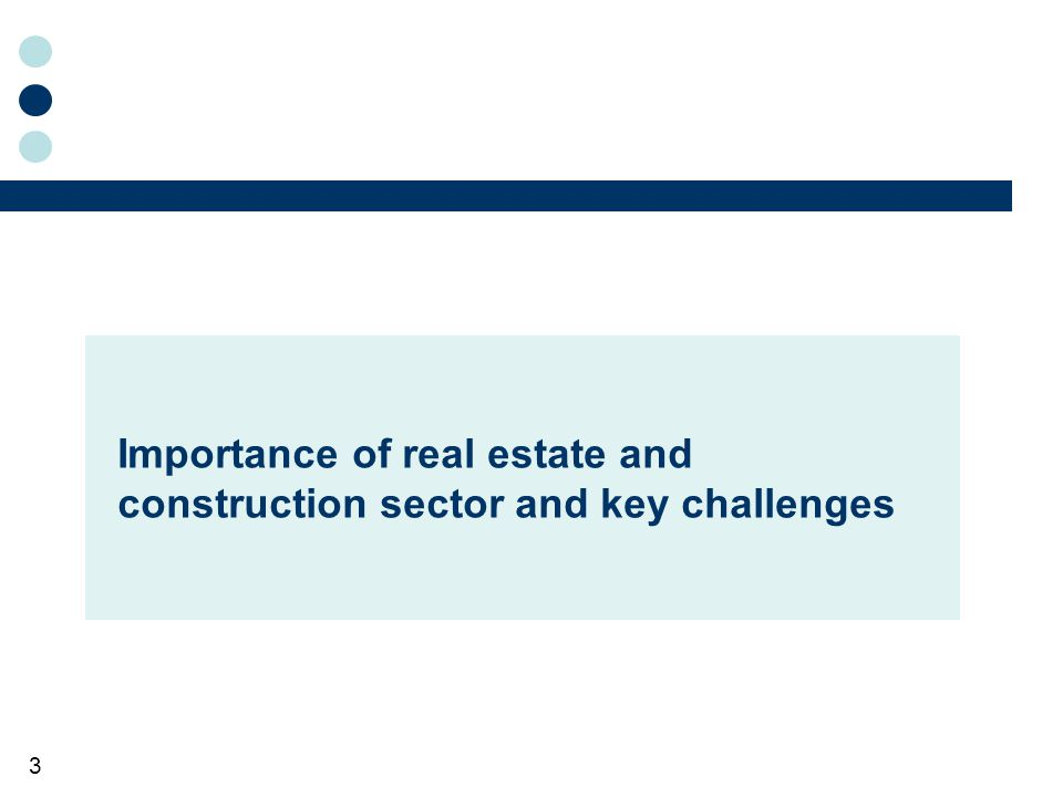 3 Importance of real estate and construction sector and key challenges