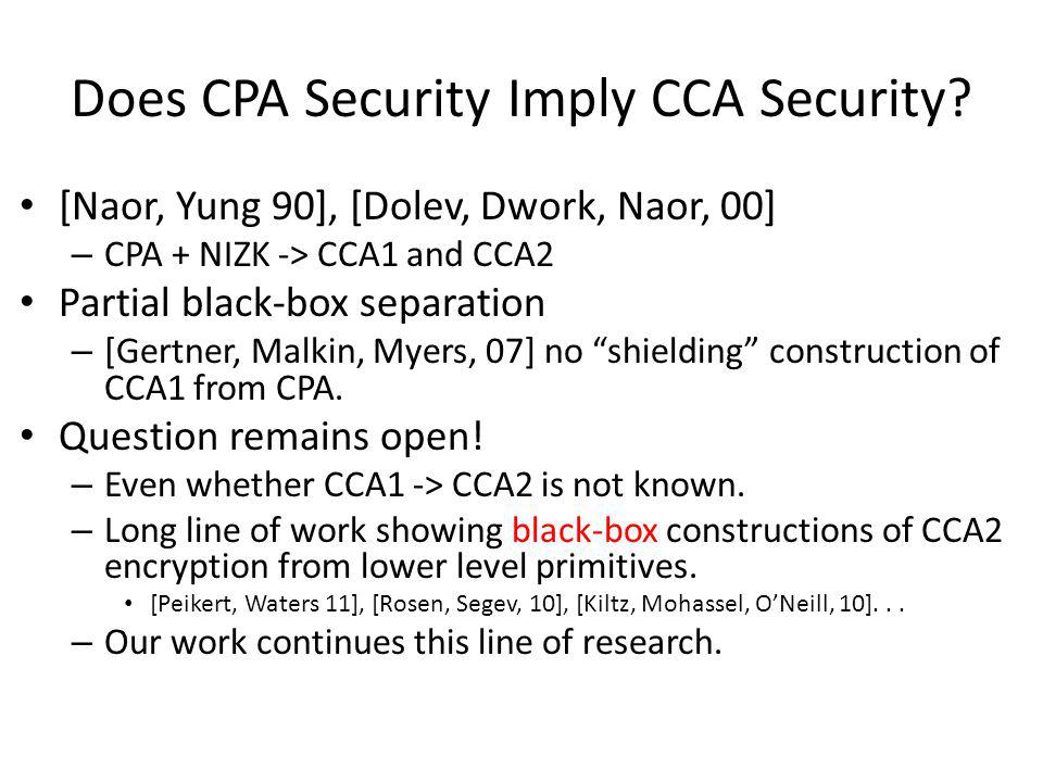 Does CPA Security Imply CCA Security? [Naor, Yung 90], [Dolev, Dwork, Naor, 00] – CPA + NIZK -> CCA1 and CCA2 Partial black-box separation – [Gertner,
