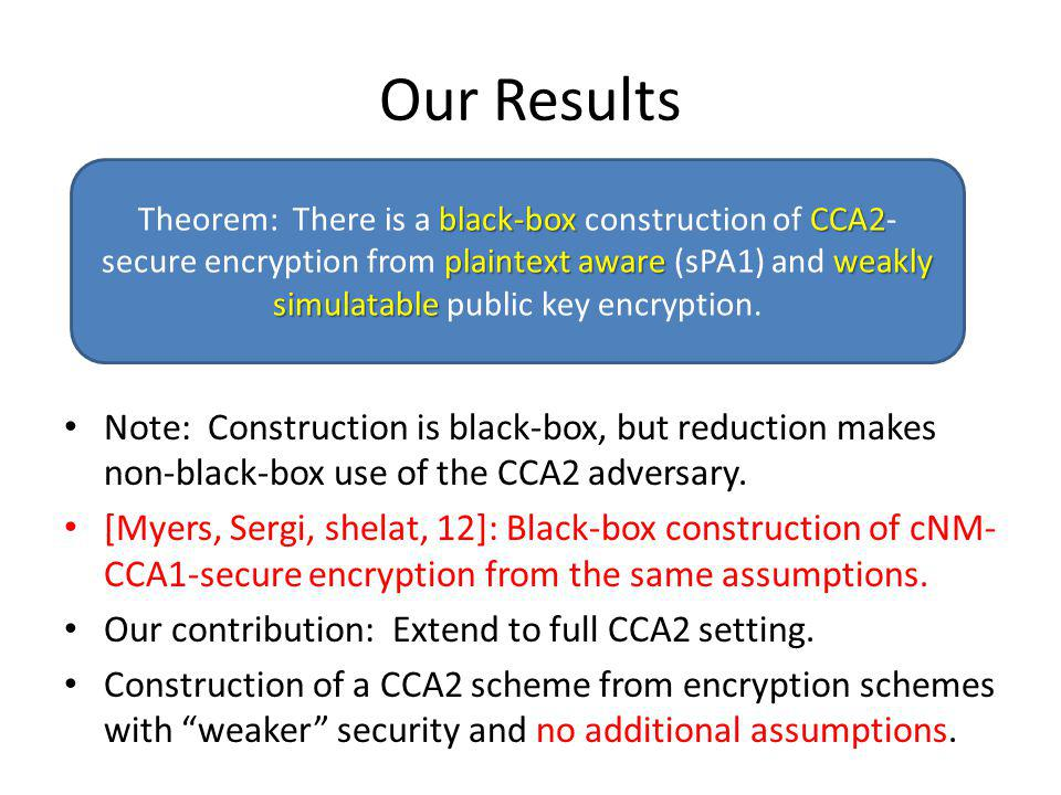 Our Results Note: Construction is black-box, but reduction makes non-black-box use of the CCA2 adversary. [Myers, Sergi, shelat, 12]: Black-box constr