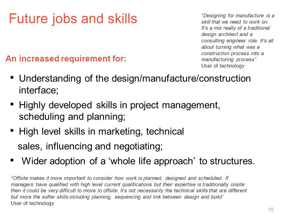 Future jobs and skills Understanding of the design/manufacture/construction interface; Highly developed skills in project management, scheduling and p