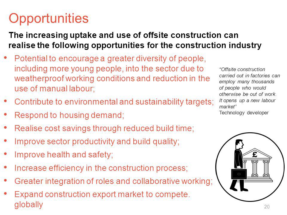 Opportunities Potential to encourage a greater diversity of people, including more young people, into the sector due to weatherproof working condition