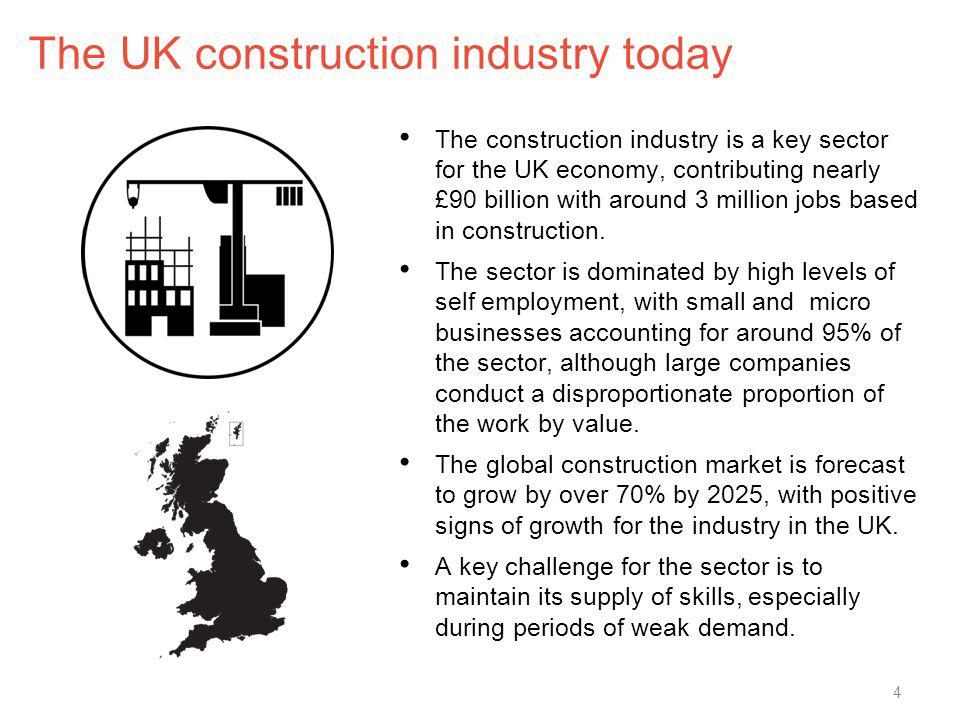 The UK construction industry today The construction industry is a key sector for the UK economy, contributing nearly £90 billion with around 3 million