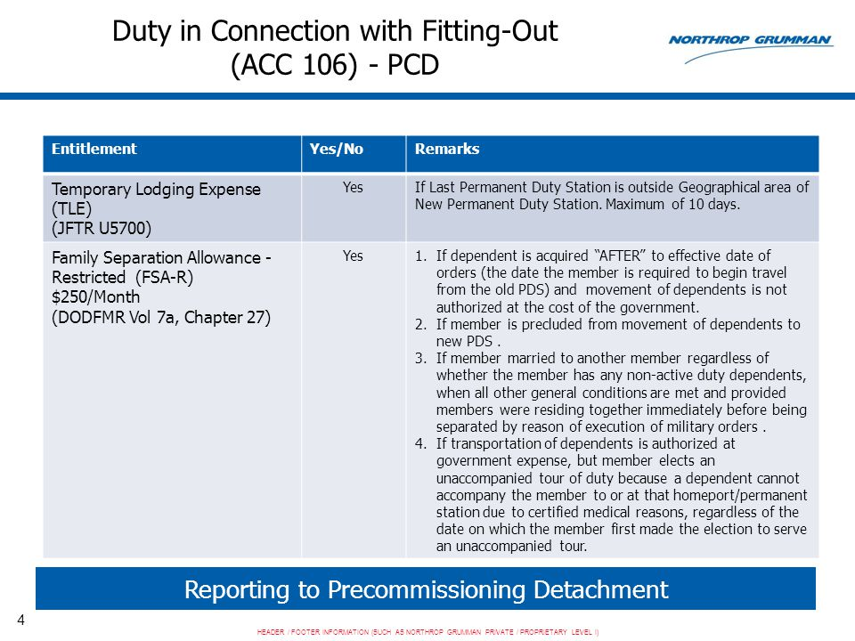 HEADER / FOOTER INFORMATION (SUCH AS NORTHROP GRUMMAN PRIVATE / PROPRIETARY LEVEL I) 5 Duty in Connection with Fitting-Out (ACC 106) - PCD Reporting to Precommissioning Detachment EntitlementYes/NoRemarks Career Sea Pay/Career Sea Pay Premium DODFMR Vol 7a, Chapter 18 OPNAVINST 7220.14 YesOnly when assigned TAD to a Category A vessel or a Category B vessel located more than 50 miles away from homeport.