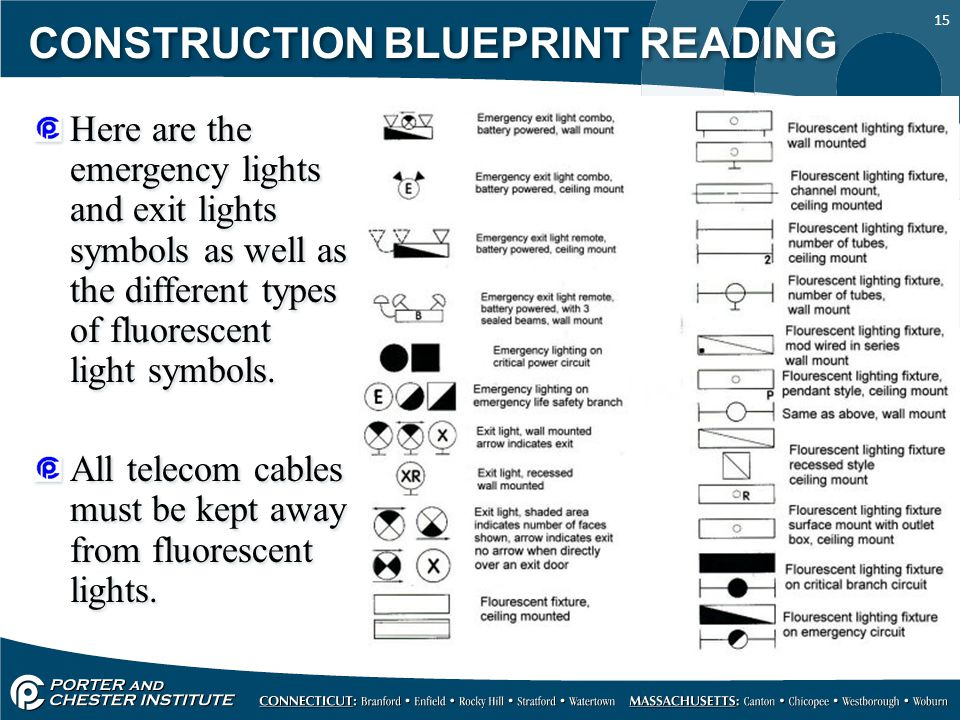 15 CONSTRUCTION BLUEPRINT READING Here are the emergency lights and exit lights symbols as well as the different types of fluorescent light symbols. A