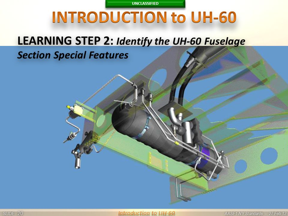 UNCLASSIFIED SLIDE - AASF1-NY Standards - 27 Feb 12 20 Introduction to UH-60 LEARNING STEP 2: Identify the UH-60 Fuselage Section Special Features