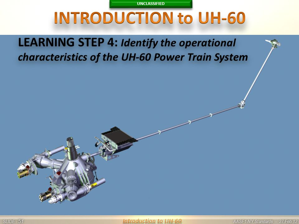 UNCLASSIFIED SLIDE - AASF1-NY Standards - 27 Feb 12 51 Introduction to UH-60 LEARNING STEP 4: Identify the operational characteristics of the UH-60 Po