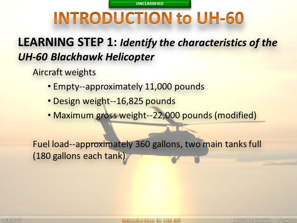 UNCLASSIFIED SLIDE - AASF1-NY Standards - 27 Feb 12 77 Introduction to UH-60 LEARNING STEP 1: Identify the characteristics of the UH-60 Blackhawk Heli
