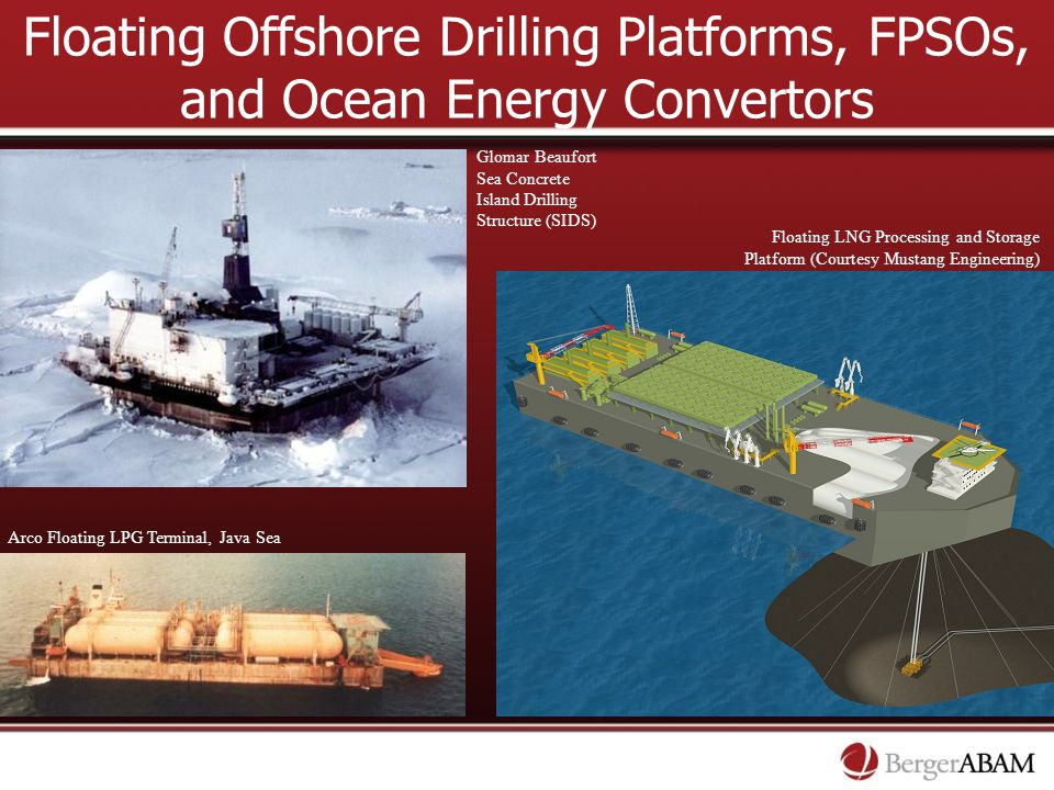 Floating Offshore Drilling Platforms, FPSOs, and Ocean Energy Convertors Glomar Beaufort Sea Concrete Island Drilling Structure (SIDS) Floating LNG Pr