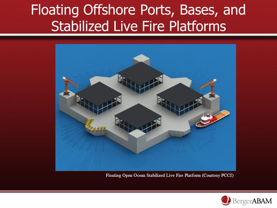 Floating Offshore Ports, Bases, and Stabilized Live Fire Platforms Floating Open Ocean Stabilized Live Fire Platform (Courtesy PCCI)