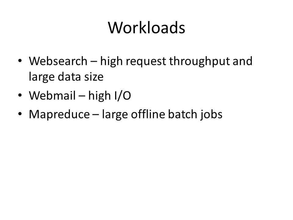 Workloads Websearch – high request throughput and large data size Webmail – high I/O Mapreduce – large offline batch jobs